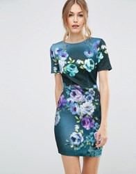 Asos Floral Mini T Shirt Dress Multi