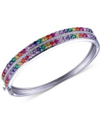 Giani Bernini Multi Color Cubic Zirconia Double Row Hinged Bangle Bracelet In Sterling Silver Only At Macy's
