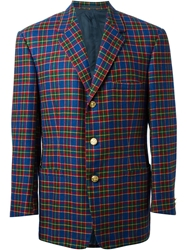 Gianni Versace Vintage Checked Blazer Blue