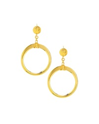 Jose And Maria Barrera Open Circle Drop Earrings Gold