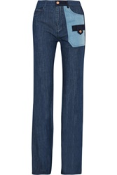 See By Chloe Patchwork High Rise Flared Jeans