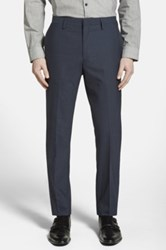 Calibrate Wool And Mohair Flat Front Trousers Blue
