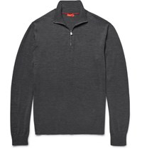 Isaia Elbow Patch Merino Wool Half Zip Sweater Anthracite