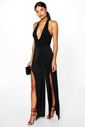 Boohoo Split Front Wide Leg Palazzo Trousers Black