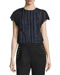 3.1 Phillip Lim Cap Sleeve Fringe Fil Coupe Top Navy