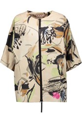 Marni Printed Cotton And Linen Blend Jacket Beige