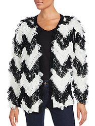 Minkpink Chevron Open Front Cardigan Black White