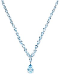 Macy's Blue Topaz Statement Necklace 30 Ct. T.W. In Sterling Silver