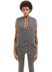 Acne Studios Avril Sleeveless Harris Tweed Jacket Grey