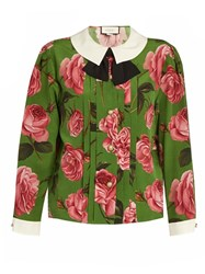 Gucci English Rose Print Long Sleeved Silk Blouse Green Print