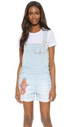 Stella Mccartney Short Dungarees With Embroidery Sun Faded Blue