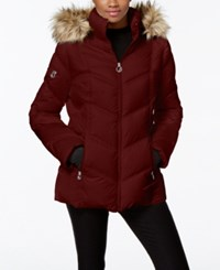 Nautica Faux Fur Trim Hooded Puffer Coat Burgundy