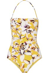 Etro Floral Print Bandeau Swimsuit Yellow