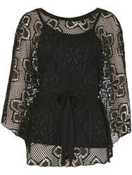Izabel London Oversized Lace Poncho Black