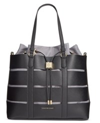 Tommy Hilfiger Double Sided Saffiano Faux Leather Norah Tote Black Whisper White