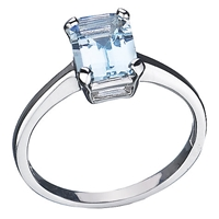 Ewa 9Ct White Gold Aquamarine Stone Cocktail Ring