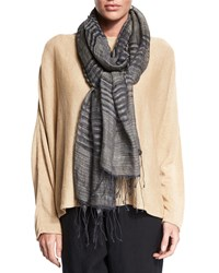 Eskandar Two Tone Striped Scarf W Fringe Elephant