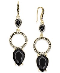 Inc International Concepts Gold Tone Jet Stone And Pave Drop Earrings Only At Macy's