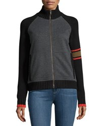 525 America Bomber Style Zip Front Sweater Gray