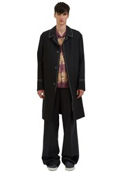 Lanvin Contrast Top Stitched Single Breasted Coat Black