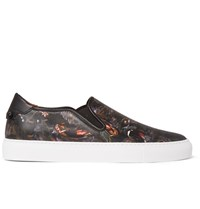 Givenchy Printed Leather Slip On Sneakers Black