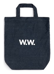 Topman Wood Wood Navy Blue Denim Tote Bag