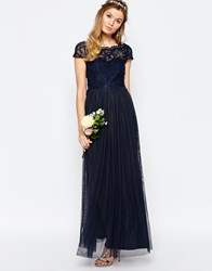 Vila Lace Top Button Back Maxi Dress Navy