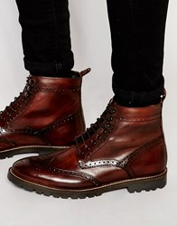 Base London Troop Lace Up Leather Boots Black Brown