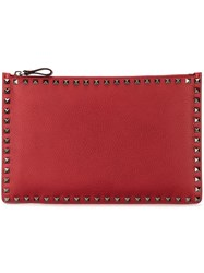 Valentino 'Rockstud' Flat Pouch Red