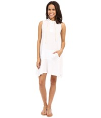 Allen Allen Sleeveless Hooded Henley Dress White Women's Dress