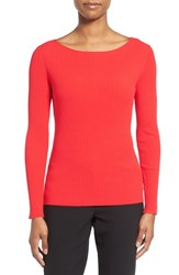 Women's Classiques Entier Wide Ribbed Ballet Neck Top Red Tomato