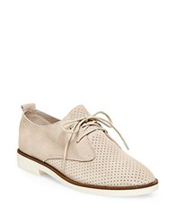 Steve Madden Tripit Perforated Suede And Nubuck Leather Oxfords Bone