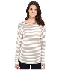 Jag Jeans Brier Stripe Tee Classic Fit Shirt Striped Jersey Nutty Women's T Shirt Brown