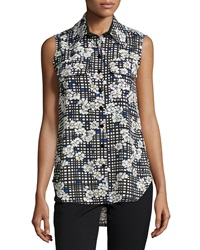 Neiman Marcus Floral Check Sleeveless Blouse Black Multi