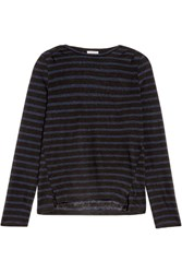 Frame Striped Linen Top Black