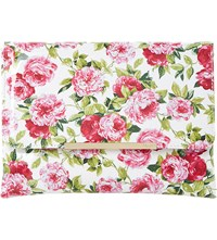 Dune Floral Print Fold Over Clutch White