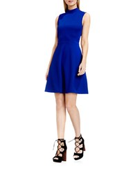 Vince Camuto Jacquard Fit And Flare Dress Optic Blue