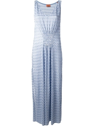 Missoni Zig Zag Crochet Knit Dress Blue