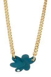 Marc By Marc Jacobs Colored Wildflower Pendant Necklace Blue