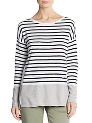 Vince Striped Boatneck Top Optic White Multi