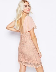 Traffic People Carry On Crochet Backless Dress Pink