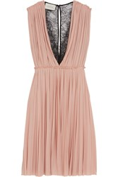Gucci Lace Paneled Pleated Crepe Dress