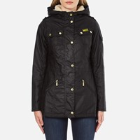Barbour International Women's Flywheel Parka Coat Black Natural