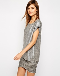 Y.A.S Olivia Slouchy T Shirt In Metallic Melange Silver