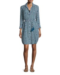 Figue Taline Printed Crepe Shirtdress Women's Size Xx Small Blue Peacock Palm