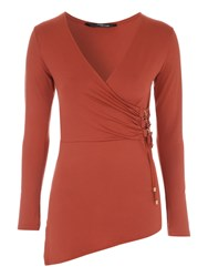 Jane Norman D Ring Asymmetric Wrap Jersey Rust