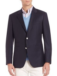 Faconnable Wool Suit Jacket Dark Navy