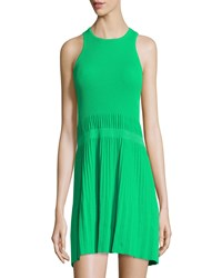 See By Chloe Sleeveless Ribbed Knit Pleated Dress Green