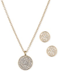 Anne Klein And Klein Pave Disc Pendant Necklace And Stud Earrings Set