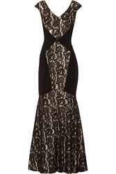 Theia Sequined Corded Lace And Crepe Gown Black
